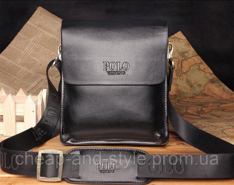 Мужская стильная кожаная сумка POLO (черная). Сумка-планшетка - сумка через  плечо 101a6ab4deb93