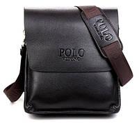 Мужская стильная кожаная сумка POLO. Сумка-планшетка - сумка через плечо.