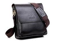 Мужская стильная кожаная сумка POLO (коричневая). Сумка-планшетка - сумка через плечо.