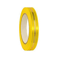 Лента полипропиленовая подарочная Желтая с золотистой полоской 2 см 45 м/рулон