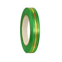 Лента полипропиленовая подарочная Зеленая с золотистыми полосками 2 см 45 м/рулон