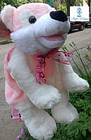 Мягкая игрушка-рюкзак волк розовый 45см