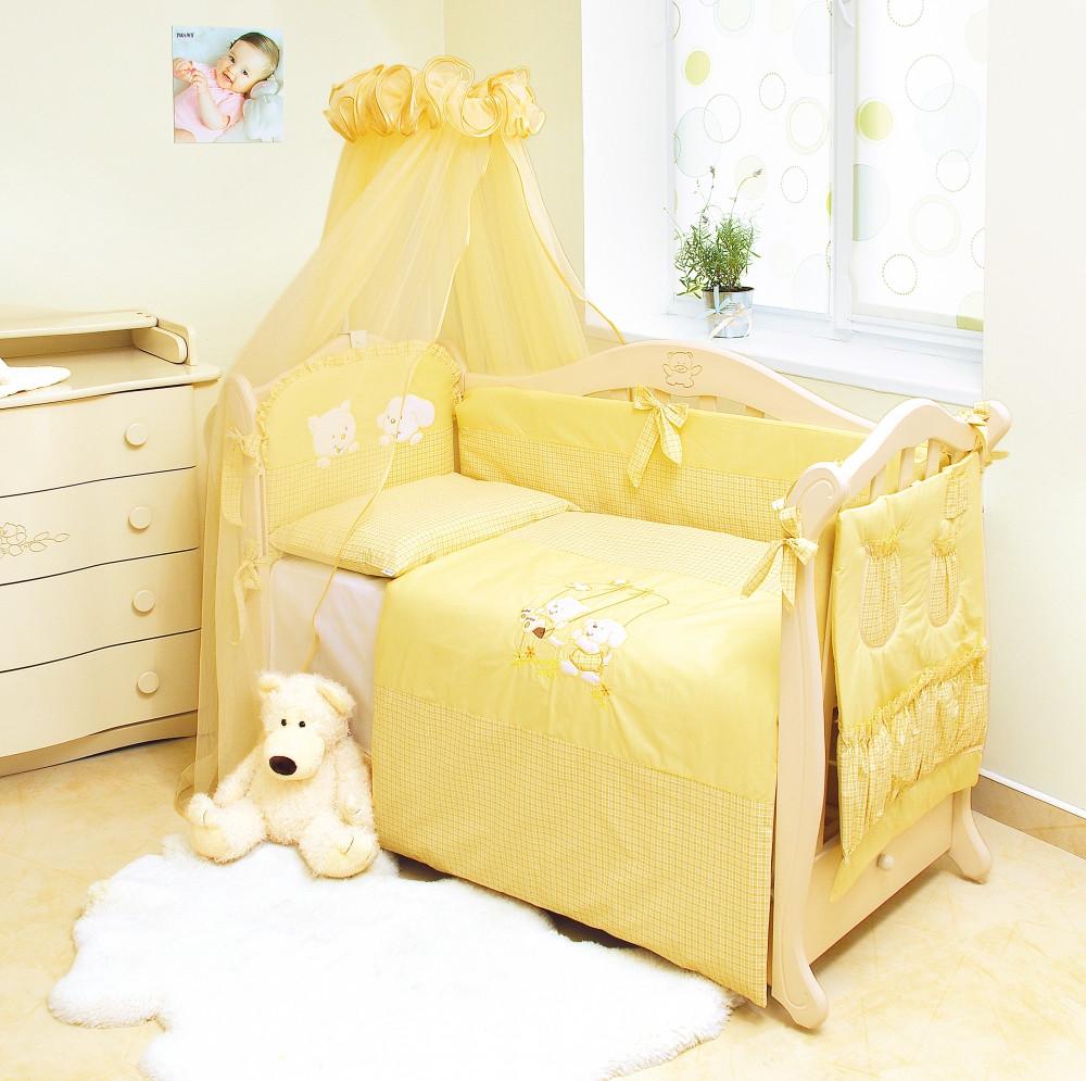 Детский постельный комплект Evolution «Котик и собачка» (Желтый, А-002, 8 элементов), Twins