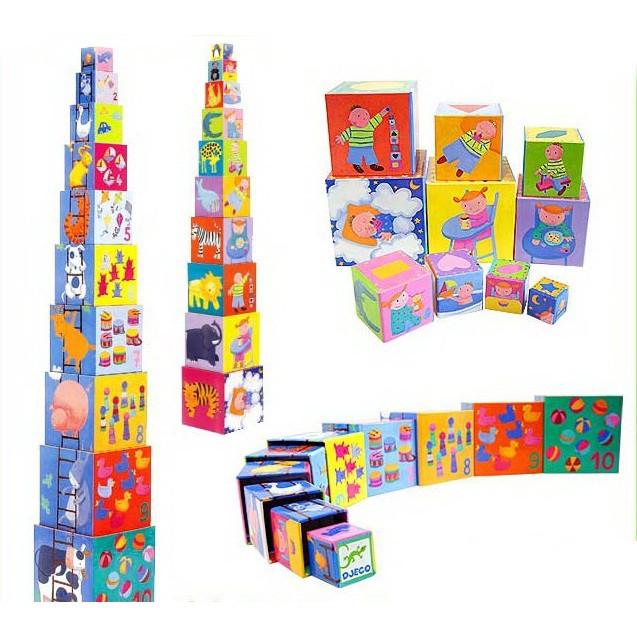 Пирамидка Djeco «Забавные кубики» (DJ08503), фото 1