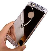 Зеркальный серебряный силиконовый чехол со стразами для Iphone 5/5S