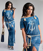 Платье женское джинсовое макси