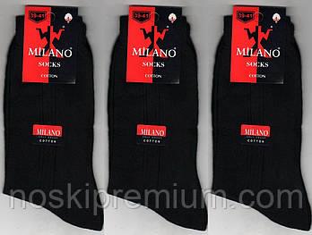 Носки мужские демисезонные 100% хлопок Milano, Турция, 39-41 размер, чёрные, 1903