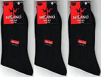 Носки мужские демисезонные 100% хлопок Milano, Турция, 40-45 размер, чёрные, 1904