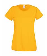 Футболка женская L Lady-Fit Valueweight-T Fruit of the Loom желтая - за 1 шт, цены от 2 шт внутри