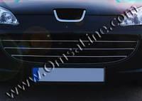 Peugeot 407 передняя нижняя решетка 3 част нерж