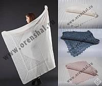 Оренбургский пуховый платок 150х150см. Белый и Серый.
