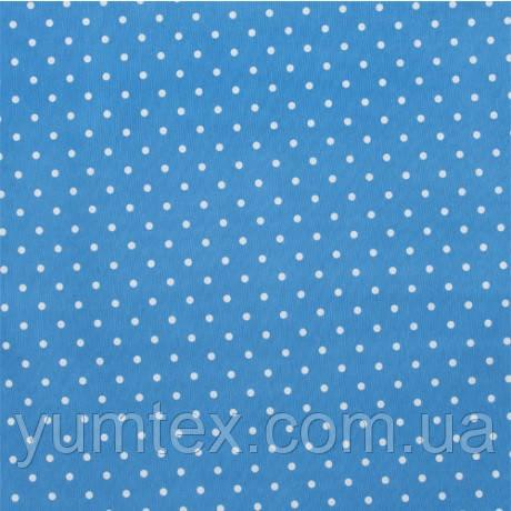 Портьерно-декоративная ткань горох белый, фон небесно голубой