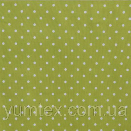 Портьерно-декоративная ткань горох белый, фон липа