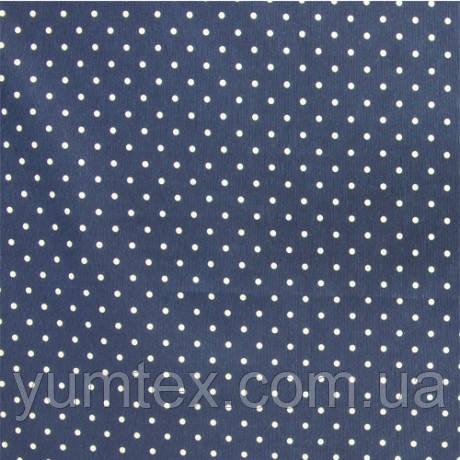 Портьерно-декоративная ткань горох белый, фон темно-синий