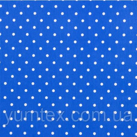 Портьерно-декоративная ткань горох белый, фон синий