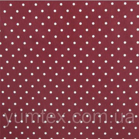 Портьерно-декоративная ткань горох белый, фон бордо