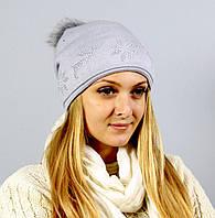 Женская шапка мелкой вязки