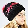 Вязаная шапочка с фламинго