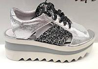 Босоножки женские Sofis на платформе кожаные серебро, черные So0090