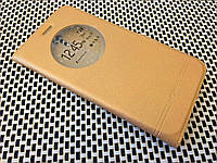 Кожаный чехол книжка Momax для ZUK Z1 золотистый