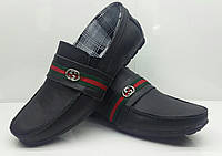 Мокасины детские-подростковые Gucci кожа натуральная черные Uk0164