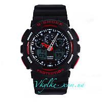 Часы Casio G-Shock GA-100 черные с красным