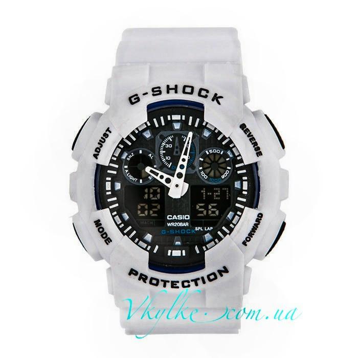 Часы Casio G-Shock GA-100 белые с черным