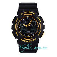 Часы Casio G-Shock GA-100 черные с желтым