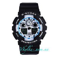 Часы Casio G-Shock GA-100 черные с белым дисплеем