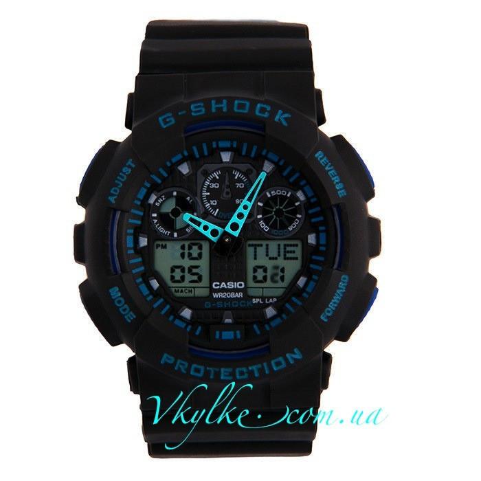 Часы Casio G-Shock GA-100 черные с синим
