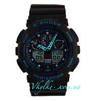 Часы Casio G-Shock GA-100 черные с синим, фото 1
