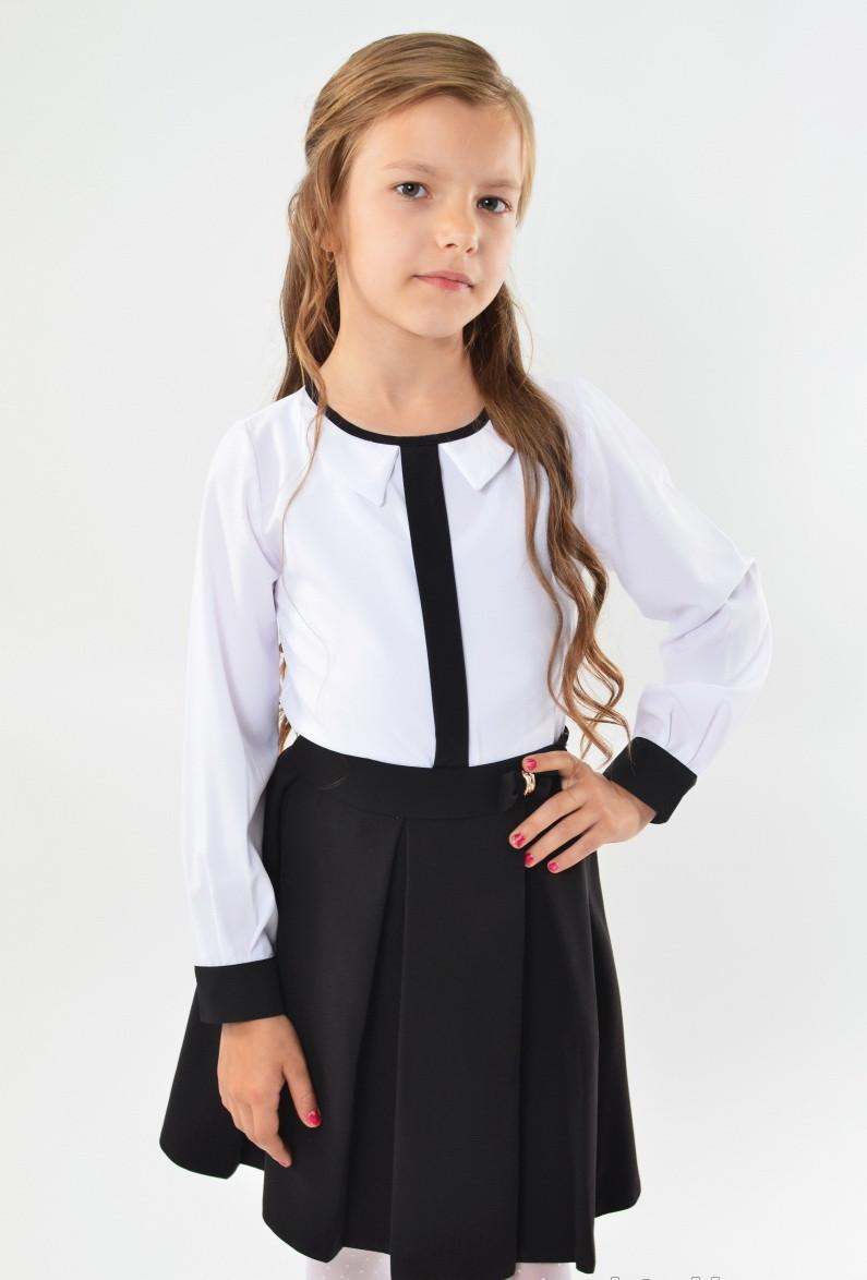 Шкільна ошатна стильна чорна спідниця з бантиком