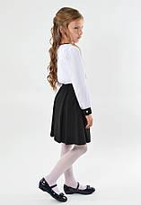 Шкільна ошатна стильна чорна спідниця з бантиком, фото 3