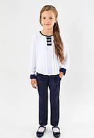 Школьные недорогие красивые брючки с бантом для девочки размер 122,128,134,140,146 цвет черный и синий