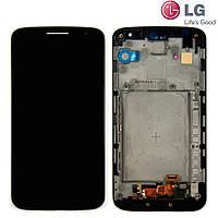 Дисплейный модуль (дисплей + сенсо для LG Optimus G2 mini D620, c передней панелью, черный, оригинал