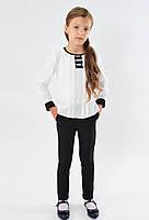 Школьные недорогие красивые брючки с карманами для девочки размер 122,128,134,140,146 цвет черный
