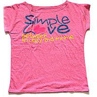 Розовая футболка летняя с принтом Simple love