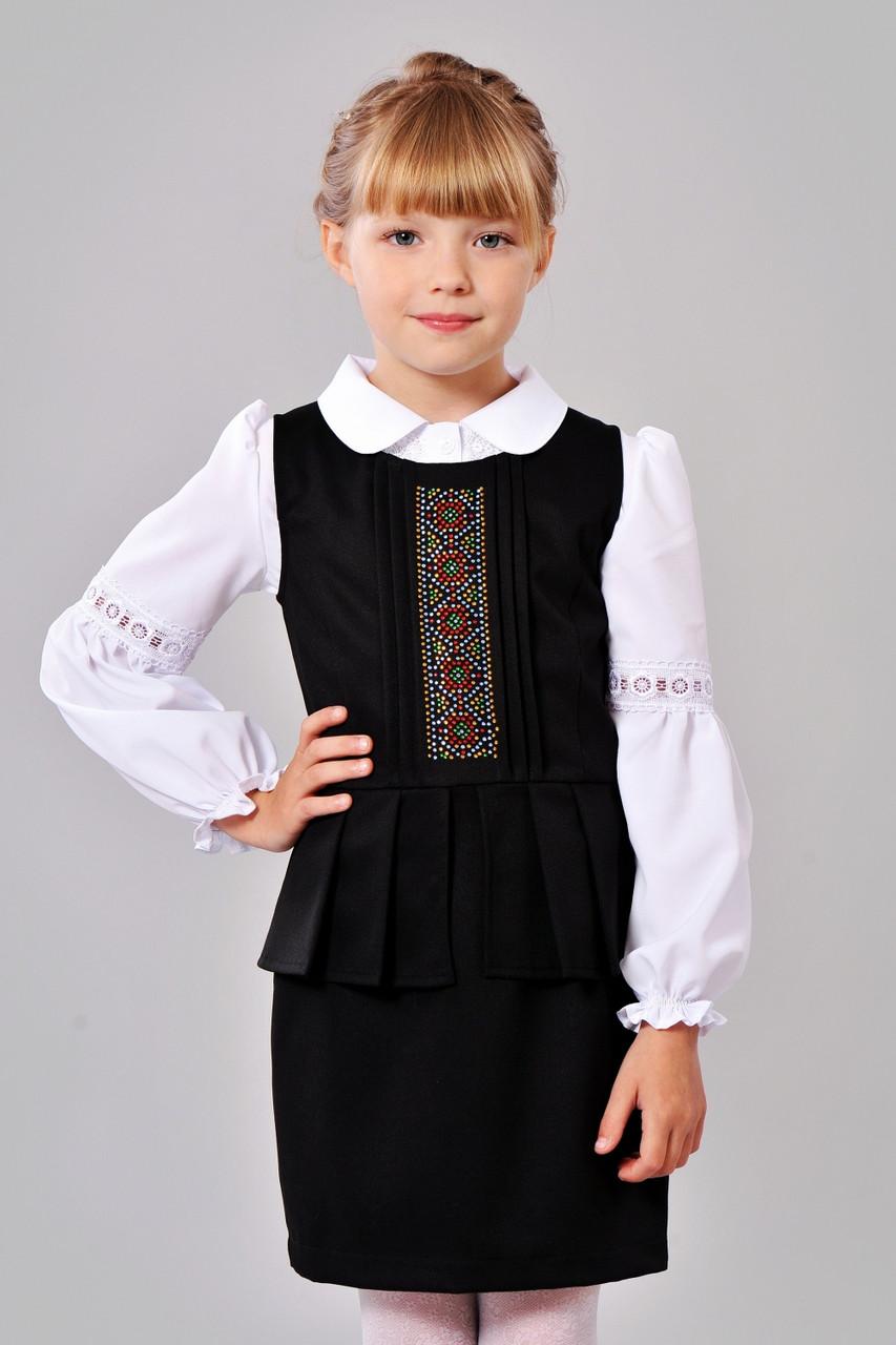 Модный красивый и нарядный сарафанчик в школу в украинском стиле 128-152.
