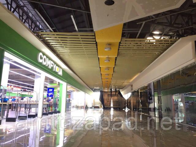 Монтаж кубообразного потолка для ЖМК