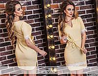 Женское летнее льняное платье с кружевом