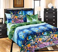 Комплект постельного белья полуторный, перкаль Подводный мир
