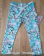 Джинсовые штаны на девочку с поясом, голубые