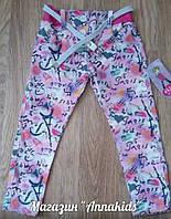 Джинсовые штаны на девочку с поясом, розовые