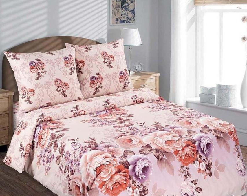 Семейный комплект постельного белья, поплин Карамельная роза (хлопок 100%)