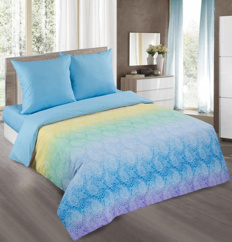 Евро комплект постельного белья, поплин Лазурь голубая (хлопок 100%)