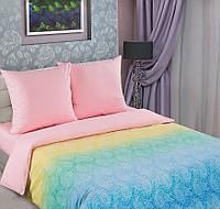 Семейный комплект постельного белья, поплин Лазурь роза (хлопок 100%)