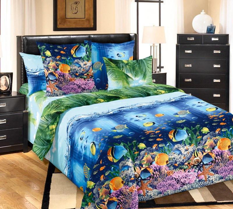 Евро комплект постельного белья, перкаль Подводный мир (хлопок 100%)