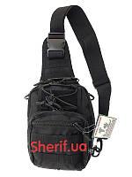 Рюкзак черный однолямочный Max Fuchs MOLLE Black 30700A