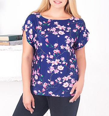 """Блузка большого размера """"Рузана"""" с цветочным принтом"""