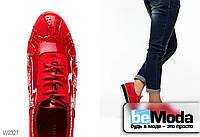 Лакированные туфли Girnaive изысканного фасона с сочетанием двух текстур и перфорированными узорами красные